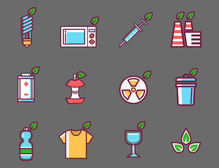 Waste rubbish vector pollution ecology recycling set outline eco energy concept garbage disposal trash illustration Ilustrace