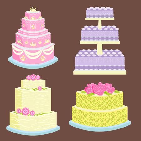 Wedding vector cake pie sweets dessert bakery flat simple style baked wedding-day food illustration.