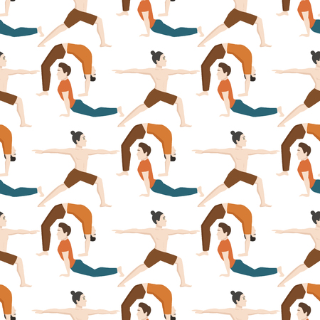 Yoga positions, man character in seamless pattern.