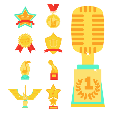Music vector award statuette microphone and notes entertainment winner top artist achievement music note prize illustration