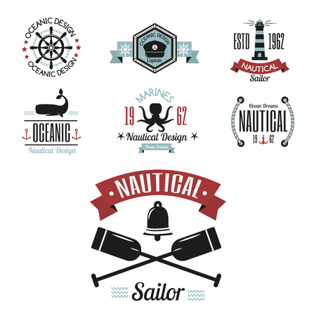 Sea marine icons, sailing themed label or with ship ribbons travel element graphic badges illustration.