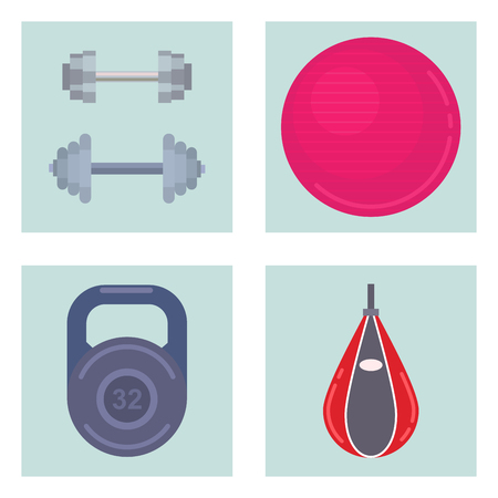Fitness gym sporty club vector icons athlet and sport activity body tools wellness dumbbell equipment