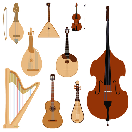 Stringed dreamed musical instruments classical orchestra art sound tool and acoustic symphony fiddle wooden equipment vector illustration