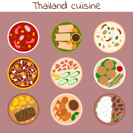 Traditional thai food asian plate cuisine thailand seafood prawn cooking delicious vector illustration.