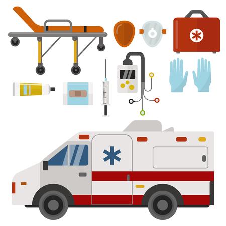 Ambulance icons medicine health emergency hospital urgent pharmacy medical support paramedic treatment vector illustration