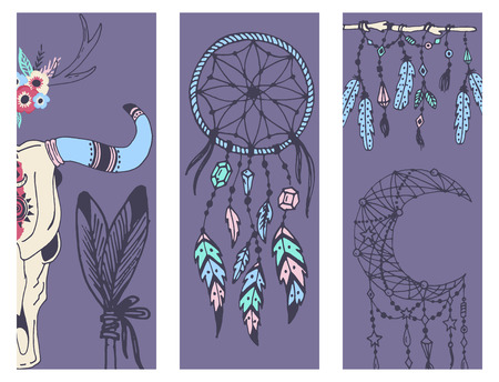 Creative boho style banner mady ethnic feathers arrows and floral elements vector illustration.