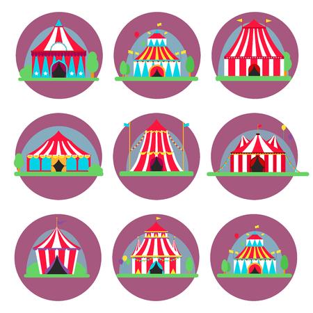 줄무늬 플래그 카니발 벡터 일러스트와 함께 서커스 쇼 엔터테인먼트 텐트 천막 야외 축제.