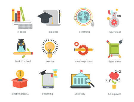 Distant learning flat design online education video tutorials staff training store learning research knowledge vector illustration. Archivio Fotografico - 98438487