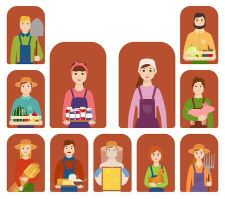 Farmer workers people character agriculture person profession farming life vector illustration.