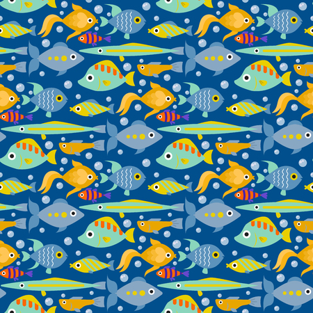 Aquarium ocean fish underwater bowl tropical aquatic animals water nature pet characters seamless pattern background vector illustration Stock Vector - 98438488