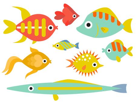 水族館海洋魚水中ボウル熱帯水生動物水自然ペット文字ベクトルイラスト  イラスト・ベクター素材