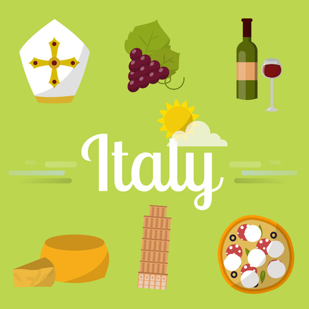 Italy travel vector attraction tourist symbols sightseeing world italian architecture elements illustration.