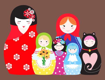 Matryoshka Vektor traditionelle russische Puppe Puppe Spielzeug mit handgefertigten Ornament Form Gesicht mit Kind Gesicht und Krippe Souvenir Platten Illustration Standard-Bild - 98600137