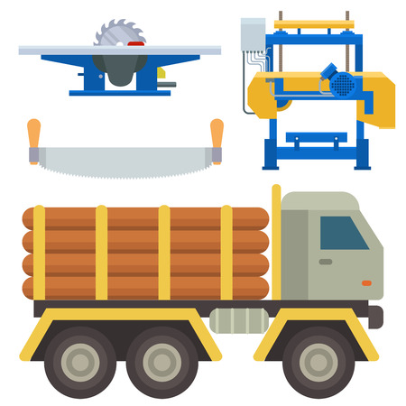 Sawmill woodcutter tools logging equipment lumber machine industrial wood timber forest vector illustration.