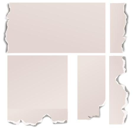 Gescheurde randen papier gat gescheurde haveloze rand en barst realistische 3D-stijl vector illustratie concept grunge paginasjabloon.