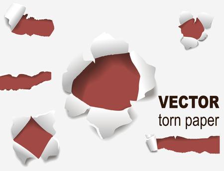 Gescheurde randen papier gat gescheurde haveloze rand en barst realistische 3D-stijl vector illustratie concept grunge paginasjabloon. Stockfoto - 98358727