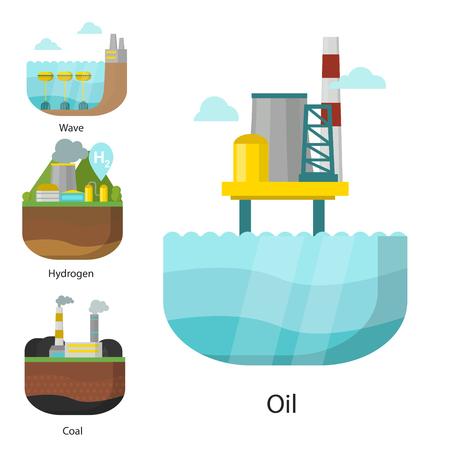 発電エネルギータイプ発電所ベクター再生可能代替源太陽光と潮汐、風力と地熱、バイオマスと波のイラスト。