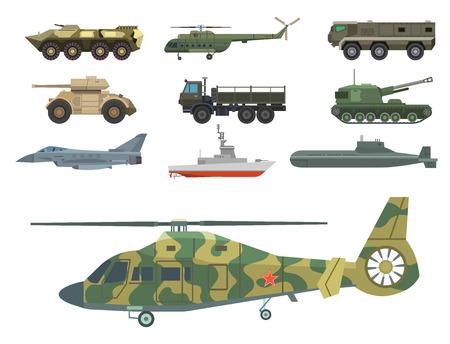 Militaire transport vector voertuig technic leger oorlogstanks en industrie armor defensie transport wapen illustratie.