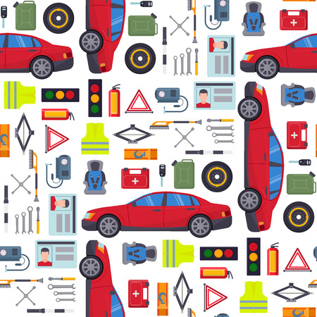 Auto transport vector motorist equipment transportation service car driver tools high detailed repair service seamless pattern background illustration. Stock Illustratie