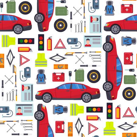Vecteur de transport automobile équipement de transport automobile équipement de service de pilote de voiture outils service de réparation détaillée haute illustration de fond transparente motif.
