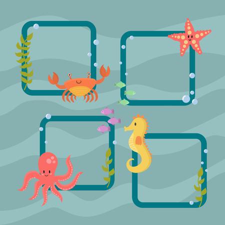 Sea animals vector creatures characters cartoon ocean wildlife marine underwater aquarium life water graphic aquatic tropical beasts illustration. Illustration
