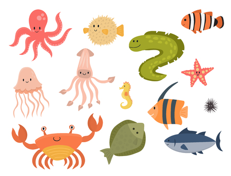 Sea animals vector creatures characters cartoon ocean wildlife marine underwater aquarium life water graphic aquatic tropical beasts illustration. 矢量图像