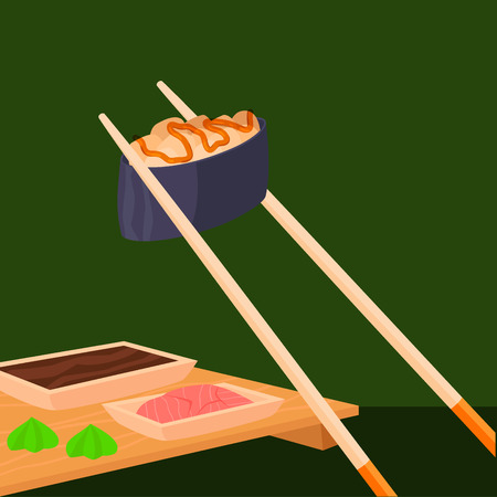 Sushi rolls vector food and japanese gourmet seafood traditional seaweed fresh raw snack illustration 일러스트