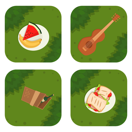 Summer picnic basket products wine grass background vector illustration in flat style.