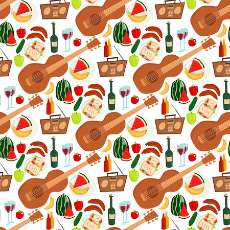 Summer picnic basket products wine seamless pattern background vector illustration in flat style. Standard-Bild - 98678530
