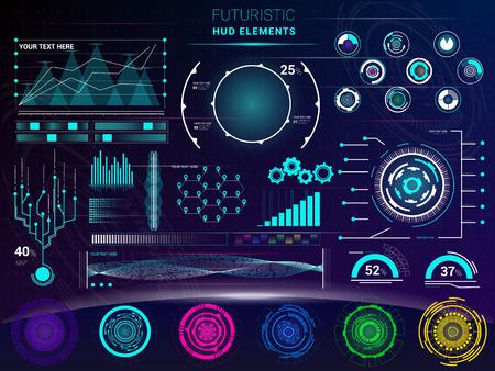 Interface vector interfaced spacepanel and hud dashboard futuristicwith interfacing hologram technology on digital bar interfacial screen on spaceship illustration set
