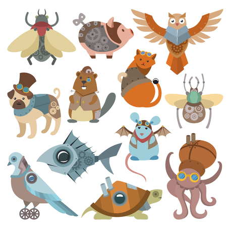 Animals steampunk vector animalistic characters in steam punk and industrial style illustration. Illustration