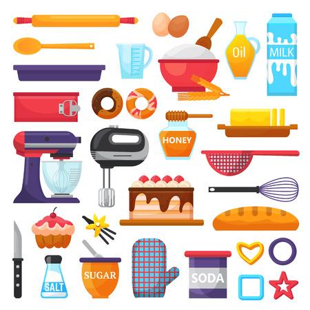 Backenvektorküchengeschirr- und -lebensmittelbäckereibestandteile für Kuchenillustrations-Backensatz des Kochens des kleinen Kuchens oder der Torte mit Kochgeschirr in der Küche lokalisiert auf weißem Hintergrund