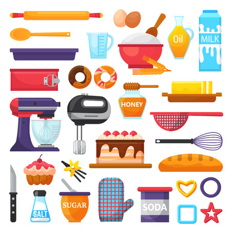 Baking vector kitchenware and food bakery ingredients for cake illustration caking set of cooking cupcake or pie with cookware in kitchen isolated on white background