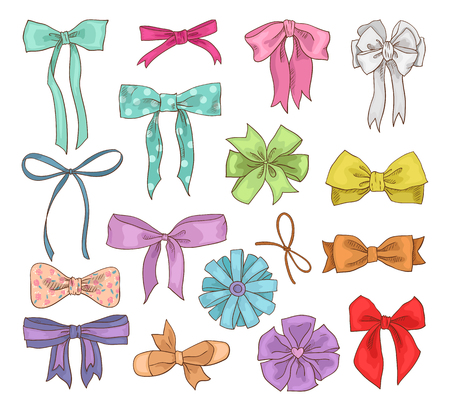 Girls bow vector girlish bow knot or girly ribbon on hair or for decorating gifts on Birthday illustration.