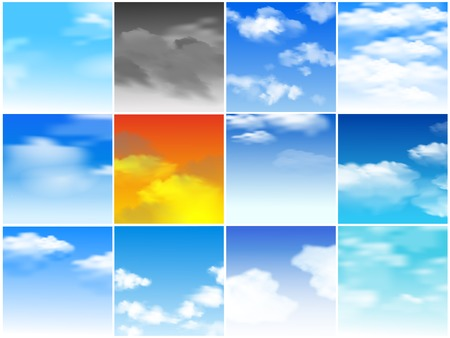 Sky seamless pattern vector cloudy backdrop and blue skyline heaven wallpaper illustration set of cloudscape with fluffy background Illustration