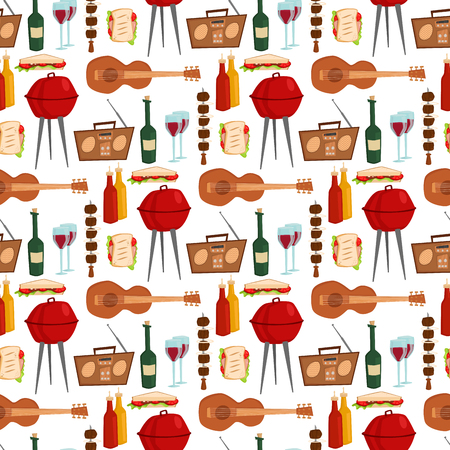 Barbecue party products kitchen outdoor family time cuisine lunch seamless pattern background vector illustration