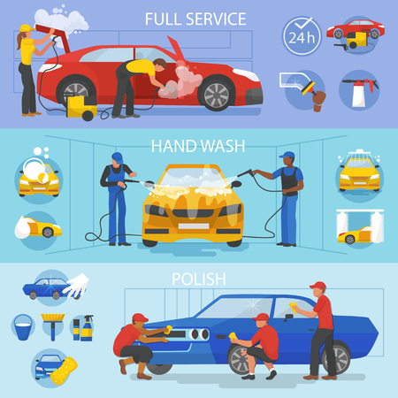 Car wash vector car-washing service with people cleaning auto or vehicle illustration. Vettoriali