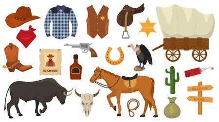 Wild west vettore western cowboy o sceriffo segni cappello o ferro di cavallo nel deserto della fauna selvatica con cactus illustrazione carattere cavallo selvaggiamente per rodeo set isolato su sfondo bianco Archivio Fotografico - 98753309