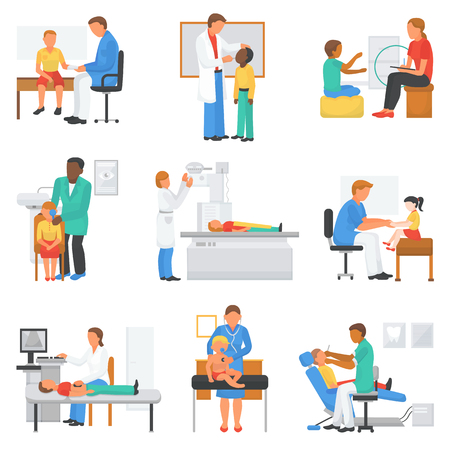 Doctor and patient vector medical character examining childrens health in professional clinic office illustration set of doctor-patient relationship with kids isolated on white background Vectores
