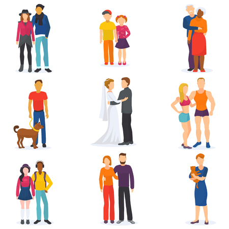 Couple vector happy man and woman in love or young people together in relationship illustration set of coupled characters girl and boy embracing on date isolated on white background Reklamní fotografie - 98849745