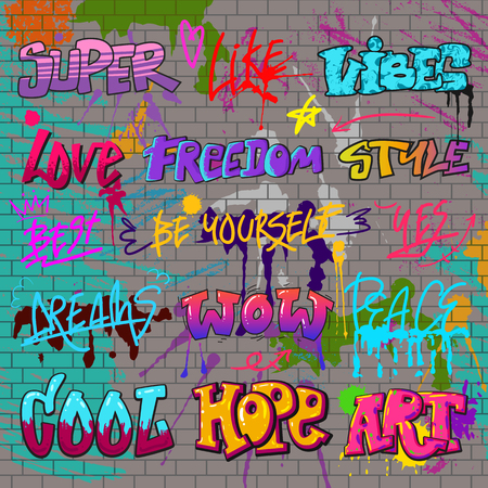 Graffiti vector graffito of brushstroke lettering or graphic grunge typography illustration set of street text with love freedom. Isolated on brick wall background. Reklamní fotografie - 98852081