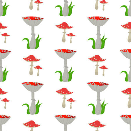 Seamless pattern background amanita mushrooms dangerous set vector poisonous season toxic fungus food illustration. Ilustração