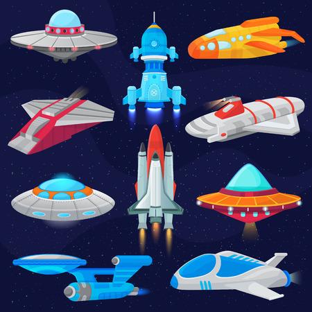 Raketenvektorraumschiff oder Raumfahrzeug und spacy UFO-Illustrationssatz des Raumschiffs oder des Raketenschiffs im Universumsraum lokalisiert auf Hintergrund
