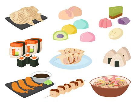 Traditionelle Mahlzeit des Japan-Vektorlebensmittels, die japanische asiatische Kücheabbildung des Kultursushirollen- und -meeresfrüchtemittagessens kocht.