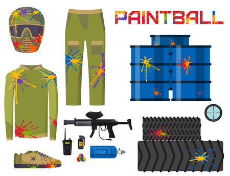 Paintball club icons protection uniform and sport game design elements shooting man costume equipment target vector illustration. Fun leisure action battle cartoon aiming.