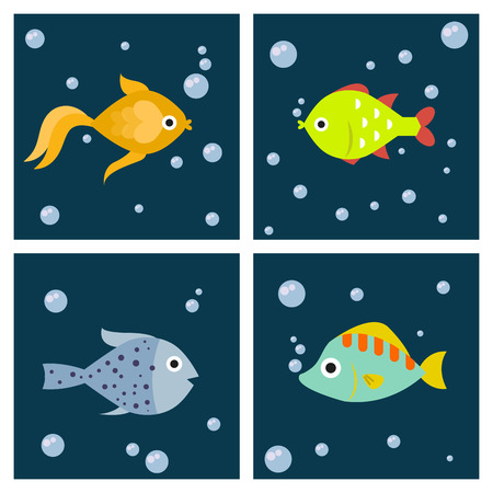 Aquarium ocean fish underwater cards bowl tropical aquatic animals water nature pet characters vector illustration. Beautiful swim freshwater nautical seaside decorative fish. Illustration