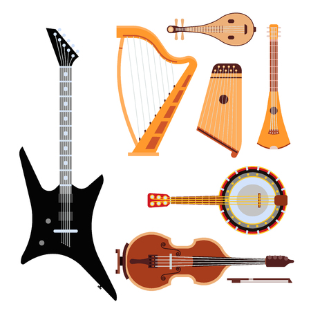 Set of stringed musical instruments classical orchestra art sound tool and acoustic symphony stringed fiddle wooden equipment vector illustration. Vintage performance classic folk rock artistic sign. Illustration