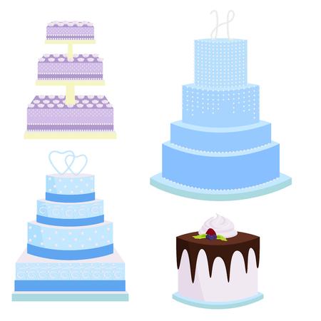 Wedding cake pie sweets dessert bakery flat simple style vector illustration.  Fresh tasty dessert sweet pastry pie. Gourmet homemade delicious cream traditional bakery tart.