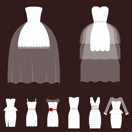 웨딩 신부 드레스 우아함 스타일 축 벡터 일러스트 레이 션 현대 액세서리 실루엣에서 만든 패션 신부 디자인. 휴일 벡터 신부 샤워 구성입니다.