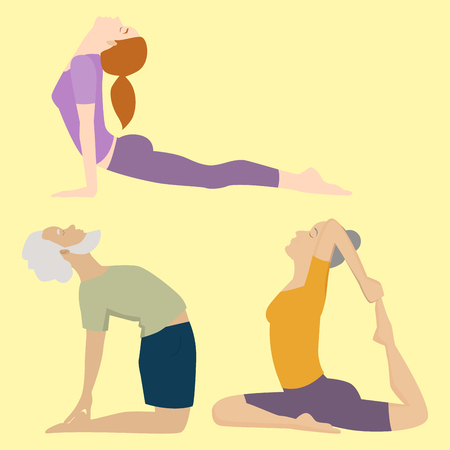 Yoga positions people characters class vector illustration. Meditation male concentration human peace sport. Lifestyle relaxation health exercise.